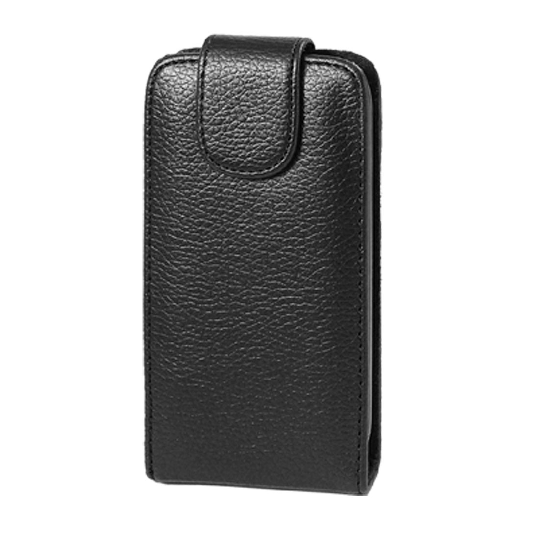 Black Textured Faux Leather Magnetic Closure Pouch Case for iPhone 3G