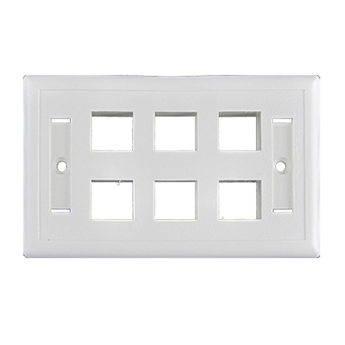 White Plastic Wall Mount 6 Gang Button Switch Plate Cover Panel