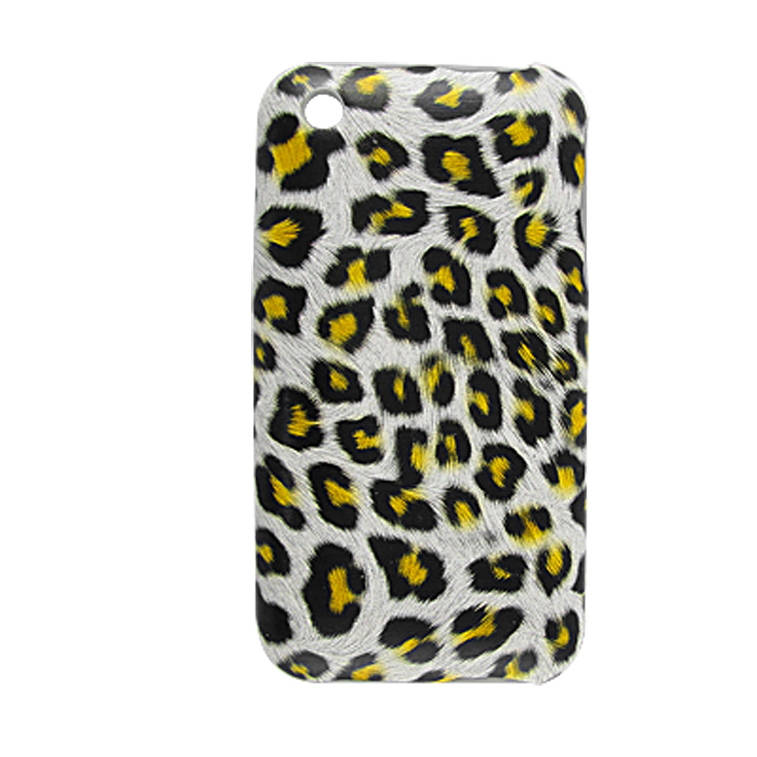 Plastic Yellow Leopard Faux Leather Coated Case for iPhone 3G