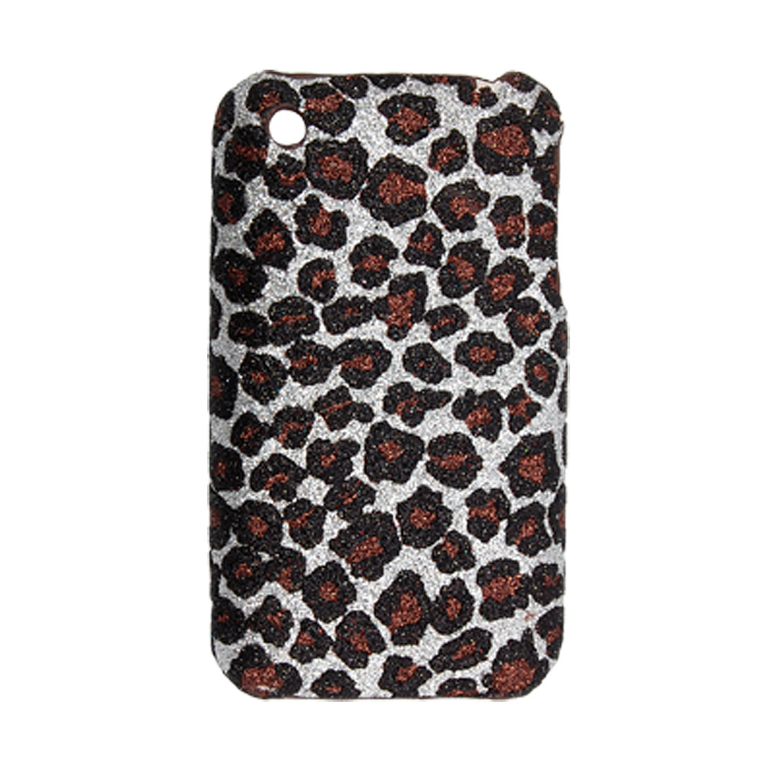 Glittery Leopard Plastic Nonslip Back Case Shell for iPhone 3G