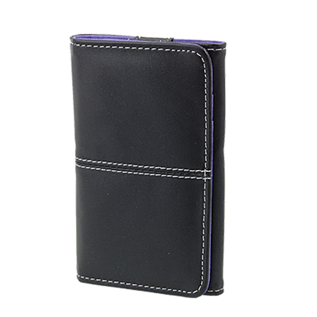 Black Purple Faux Leather Magnetic Pouch for iPhone 3G