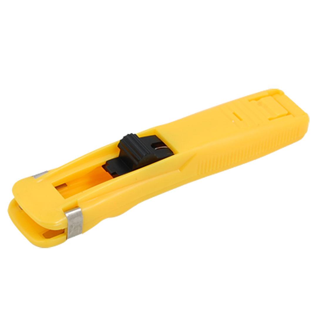 Yellow Plastic Handheld Medium Size Fast Clam Clip Stapler Dispenser
