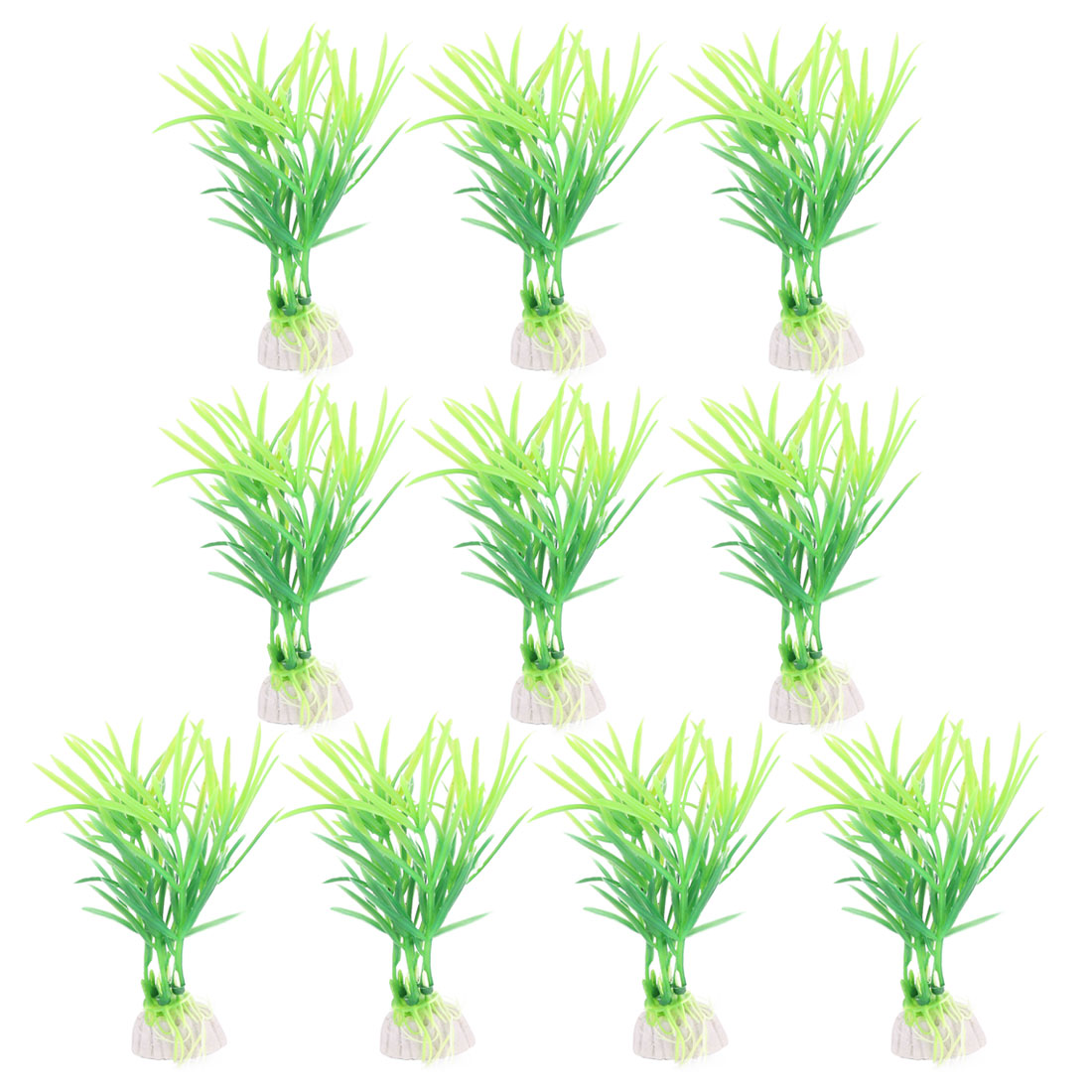 10PCS Plastic Green Aquarium Fish Tank Plant Green