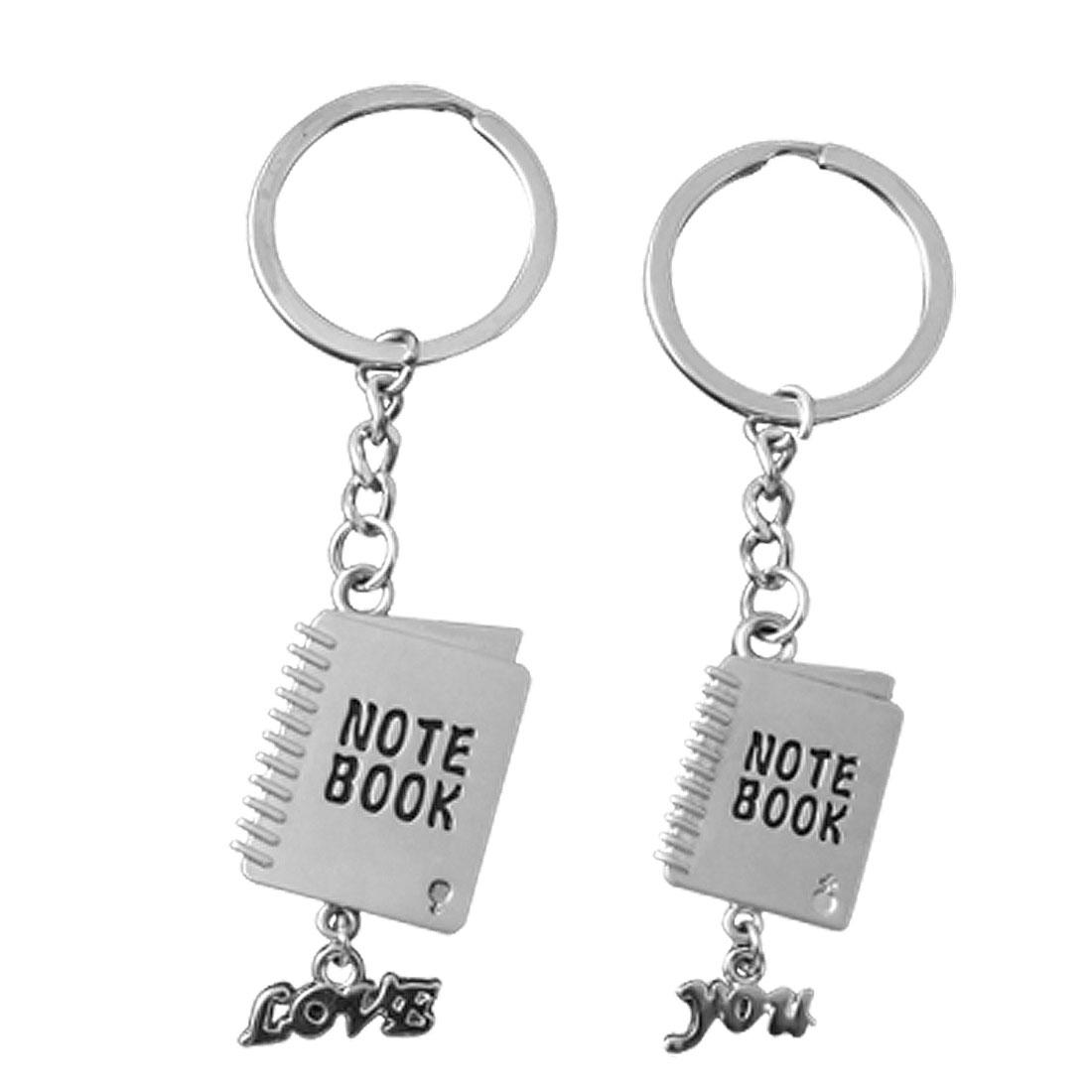 Pair Notebook Shaped Metal Key Rings w Word for Lovers