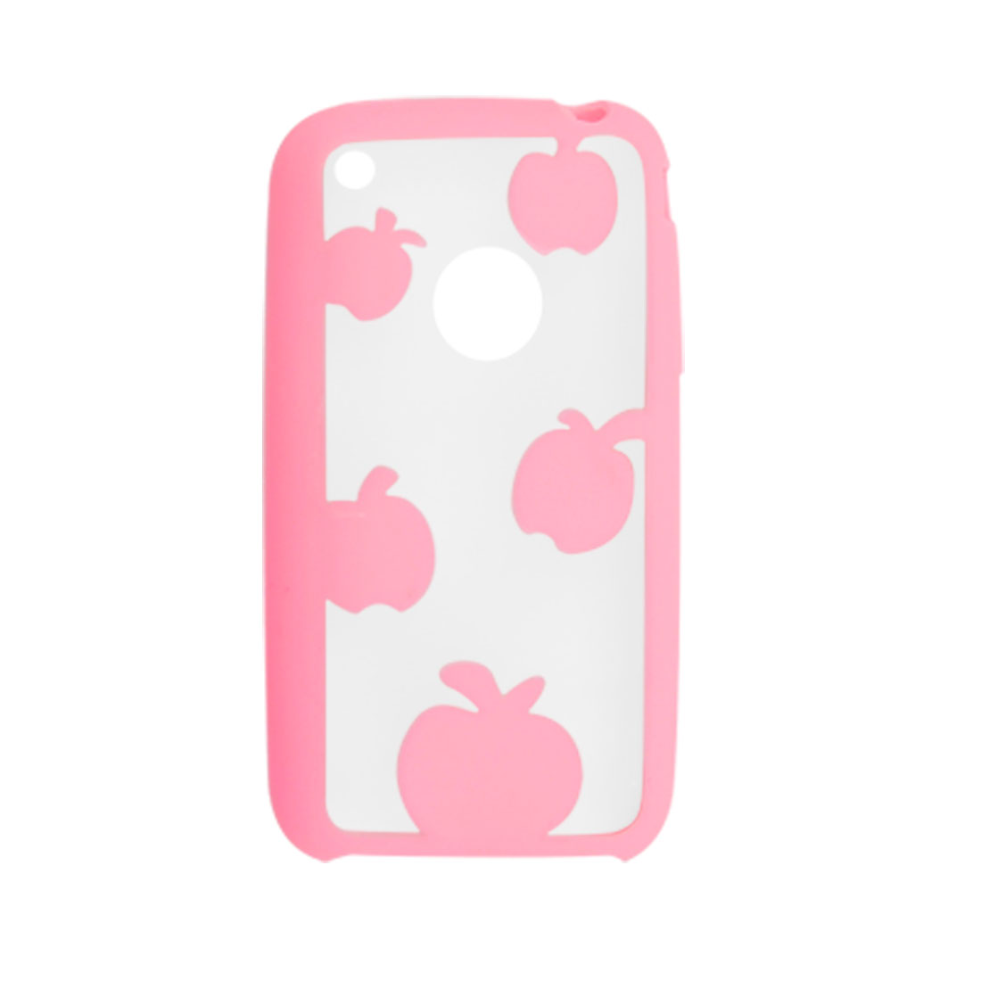 Pink and Clear Dual Color Apple Pattern Plastic Case for iPhone 3G