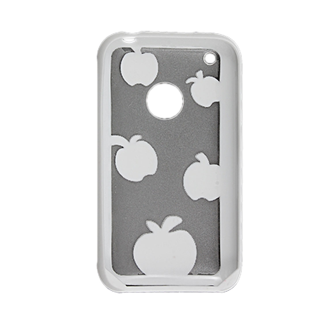 White Sides Clear Anti Glare Plastic Apple Pattern Back Case for iPhone 3G