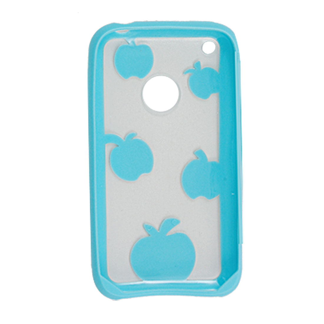 Light Blue and Clear Apple Pattern Plastic Case for iPhone 3G