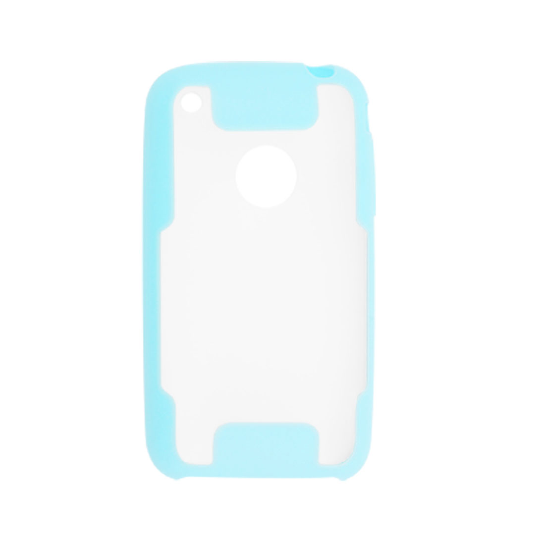 Light Blue + Clear Dual Color Anti Glare Plastic Case for iPhone 3G
