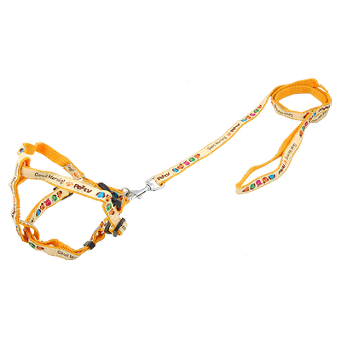 Dog Paw Print Adjustable Nylon Harnesses w Leash Orange