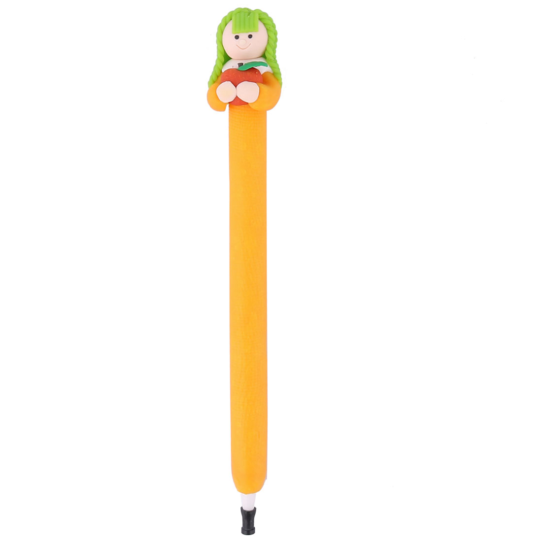 Light Orange Pretty Girl Decor Black Ink Ballpoint Pen