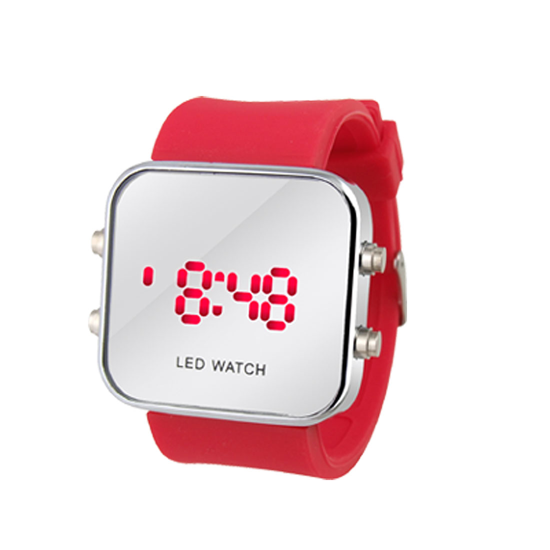 Red Plastic Band Sport Style LED Digital Unisex Wrist Watch
