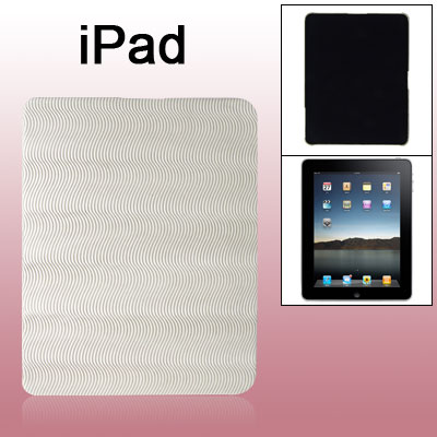 Light Grey Anti Slip Wave Faux Leather Coated Hard Plastic Back Case for iPad 1