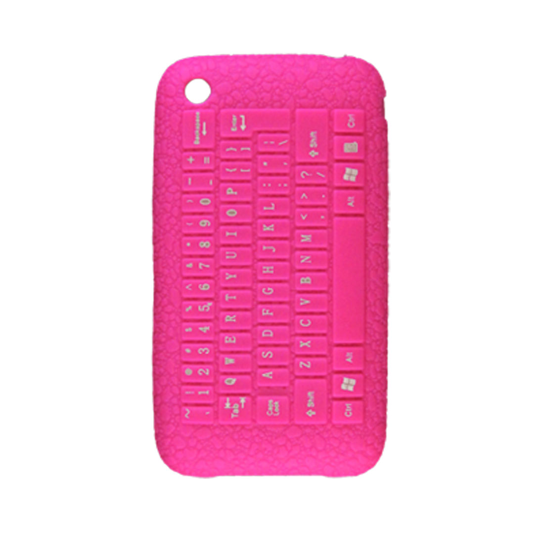 Hot Pink Anti Slip Keyboard Pebble Pattern Soft Plastic Case for iPhone 3G 3GS