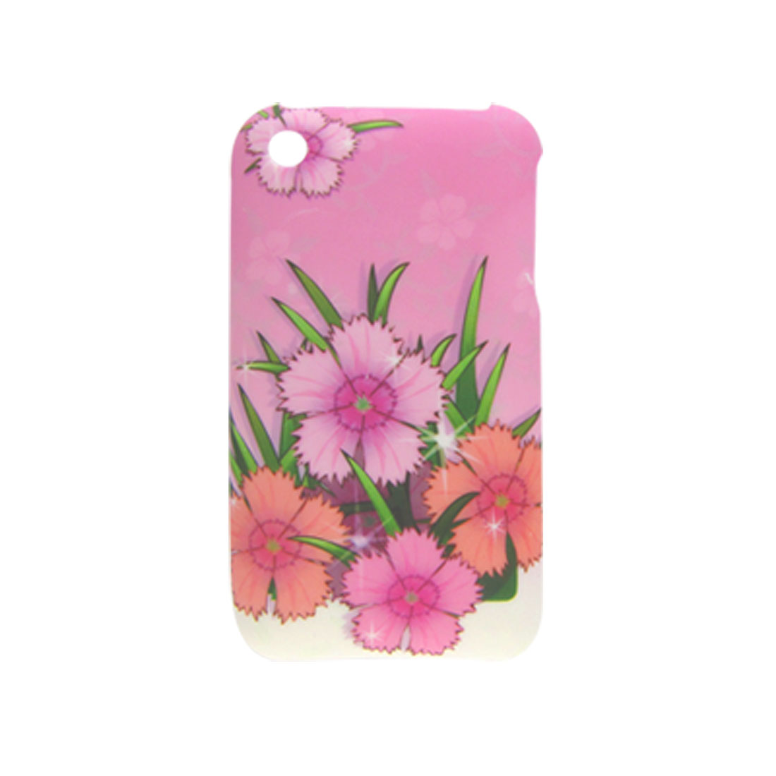 Pink Flower Pattern Rubberized Hard Plastic Case for Apple iPhone 3G