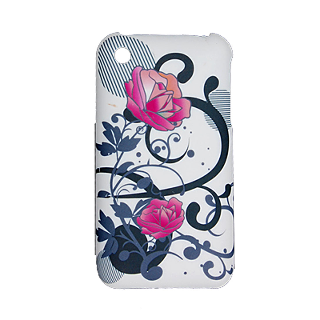 Rubberized Flower Pattern Plastic Case for Apple iPhone 3G