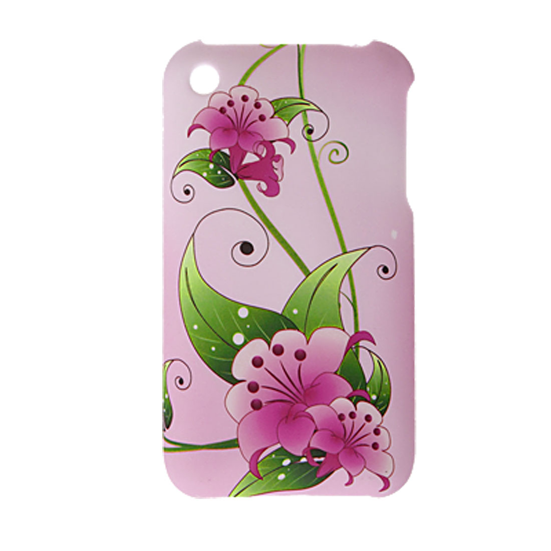 Light Pink Flower Pattern Rubberized Hard Plastic Case for Apple iPhone 3G