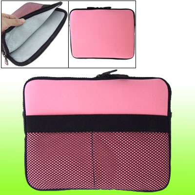 Pink Two-way Zipper Plush Lining Laptop Sleeve Pouch for Phone