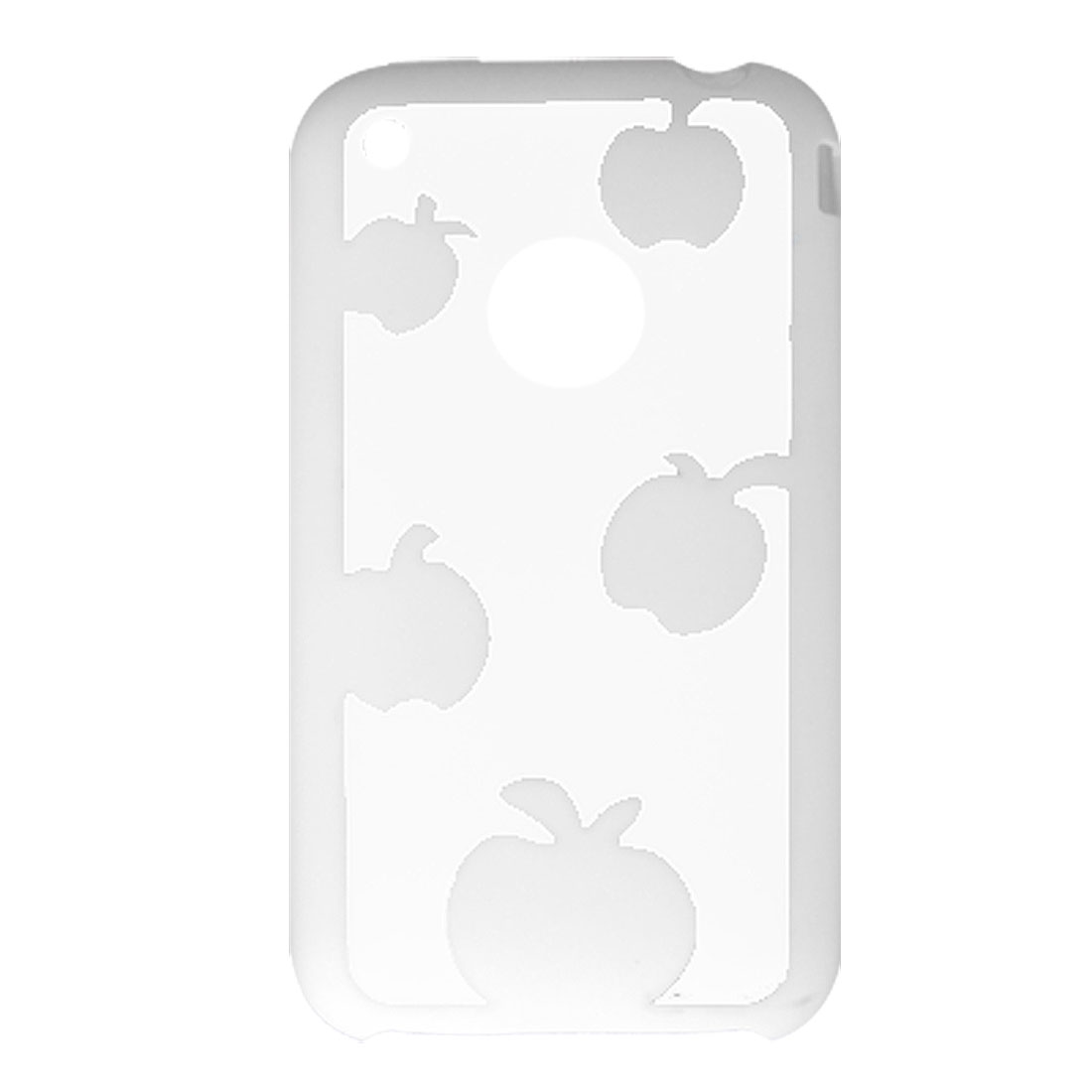 Clear White Apple Pattern Plastic Cover for iPhone 3G