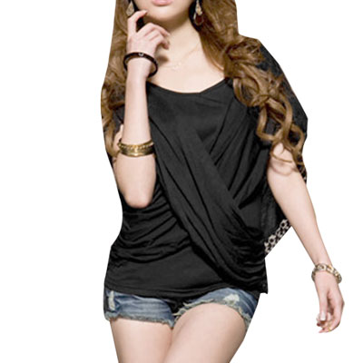 Black Cross Front V Neck Faux Two Piece Shirt for Ladies S