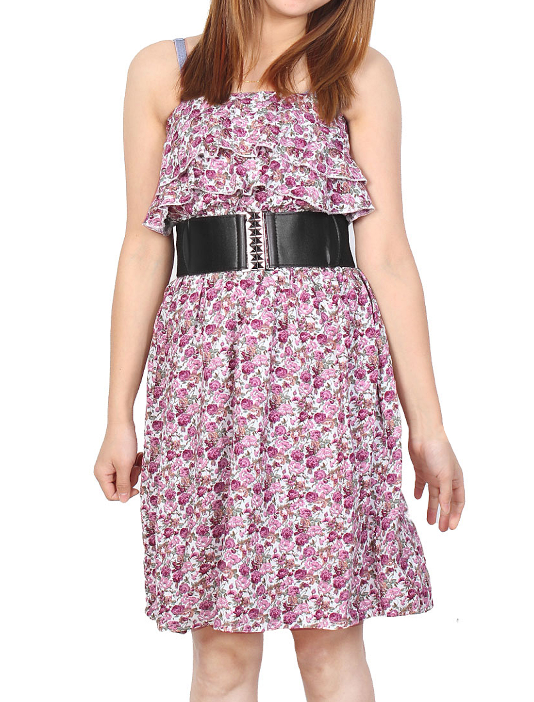 Ruffle Bust Elastic Waist Pink Flowers Belted Tube Dress XS