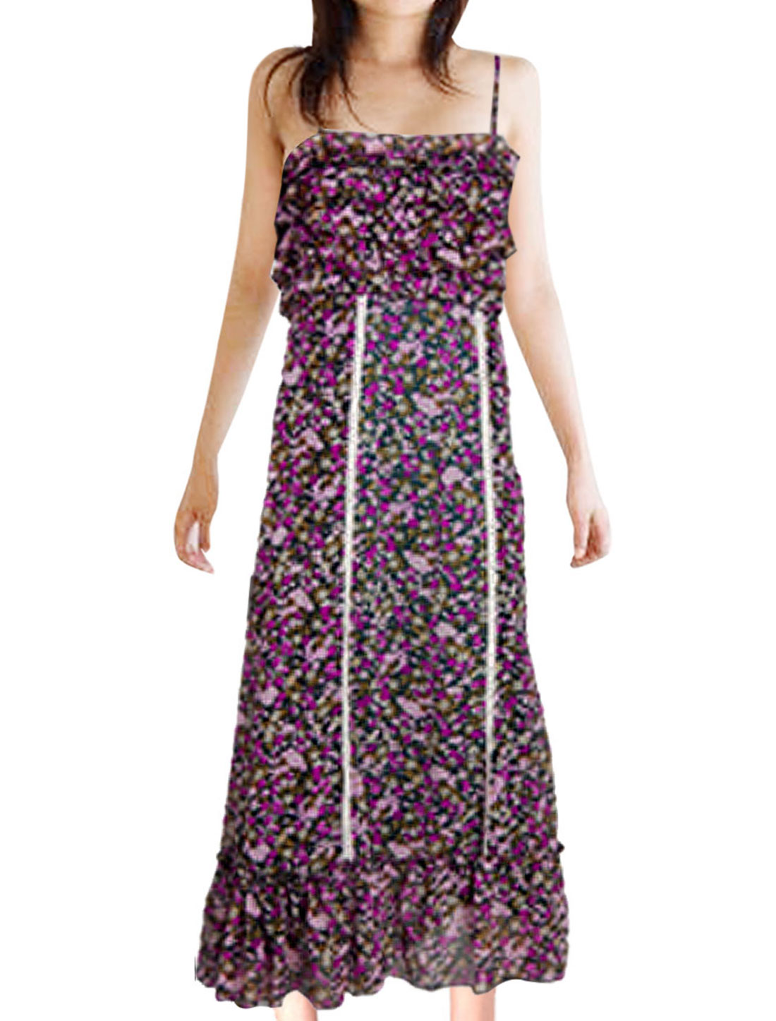 Ladies Floral Printed Sliding Strap Long Spaghetti Dress XS