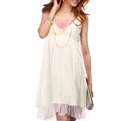 Deep V Neck Sleeveless White Empire Waist Dress for Lady