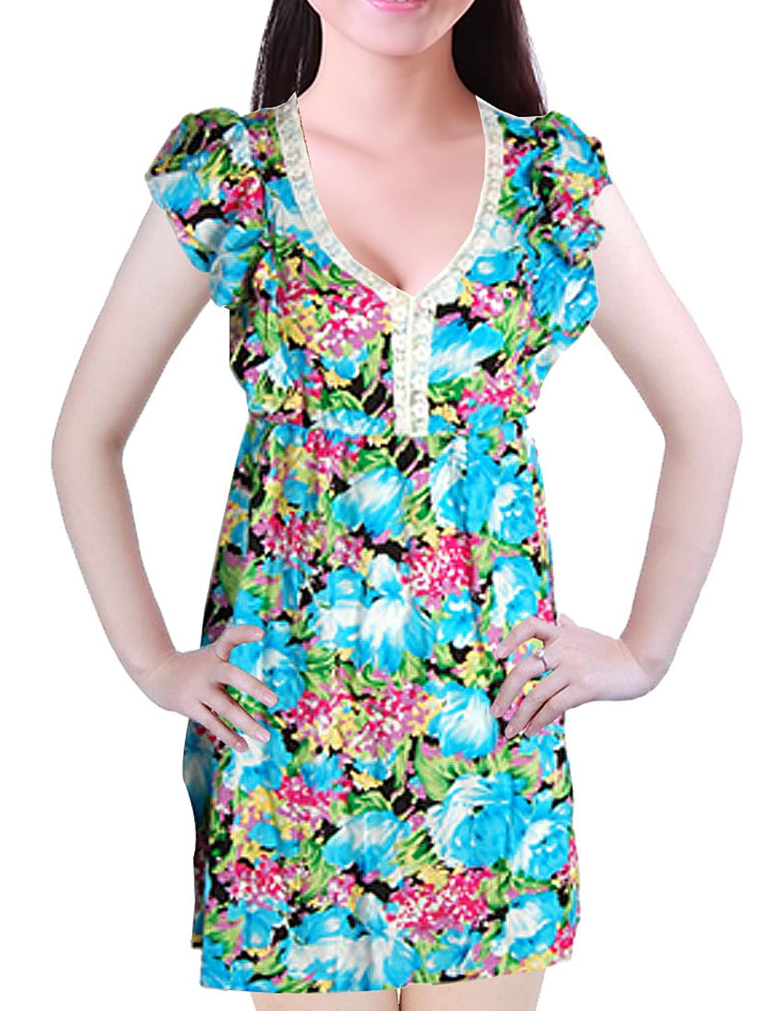 Ladies Colorful Flower Print Cap Sleeves Dress S