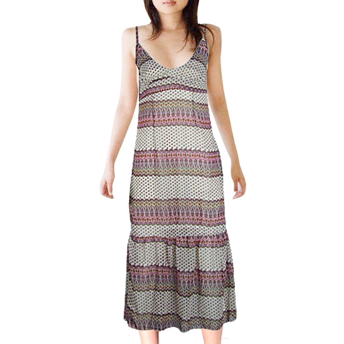 XS Chiffon Printed Spaghetti Straps Dress for Ladies