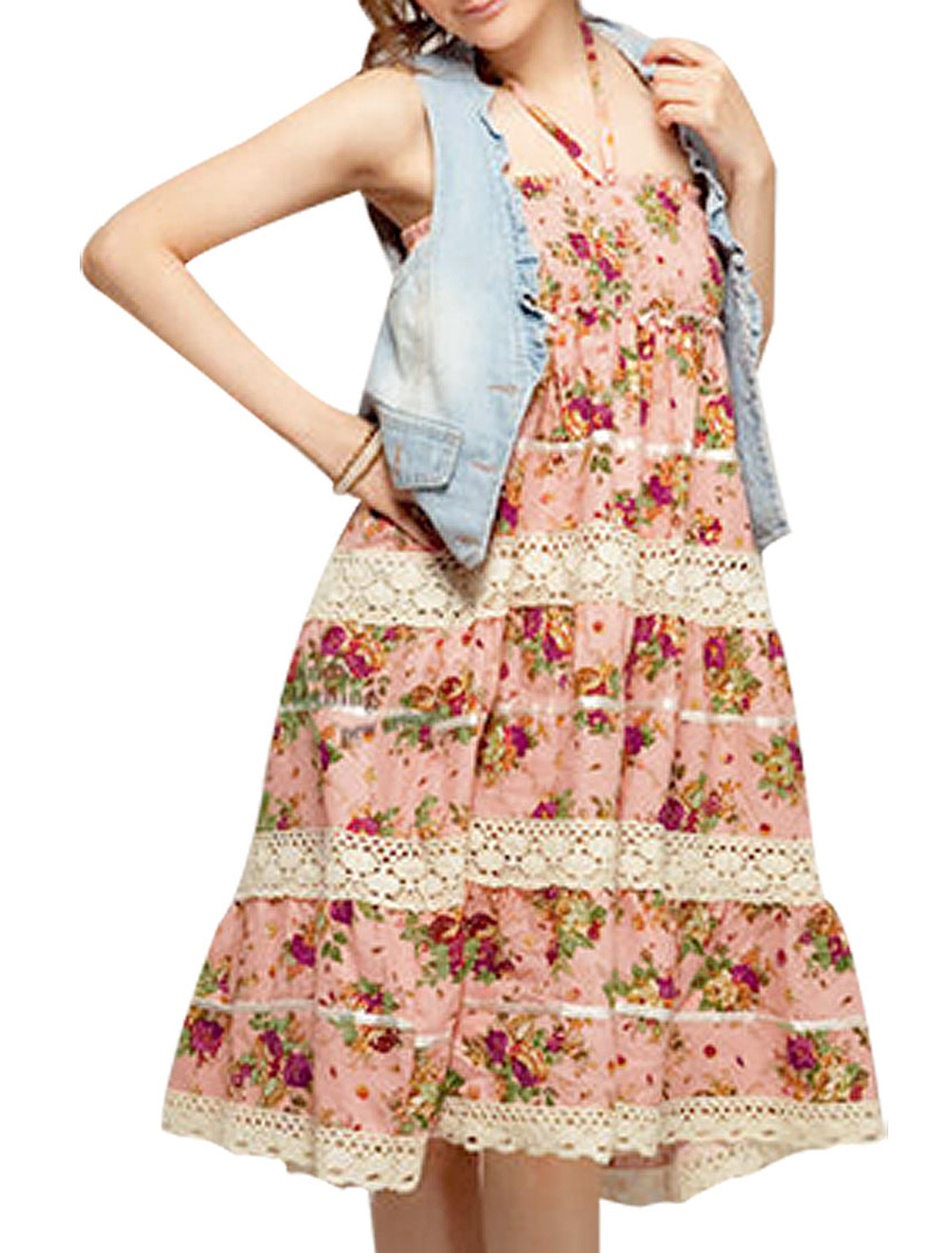 Pink Elastic Flowers Print Halter Neck Sleeveless Long Skirt Dress XS