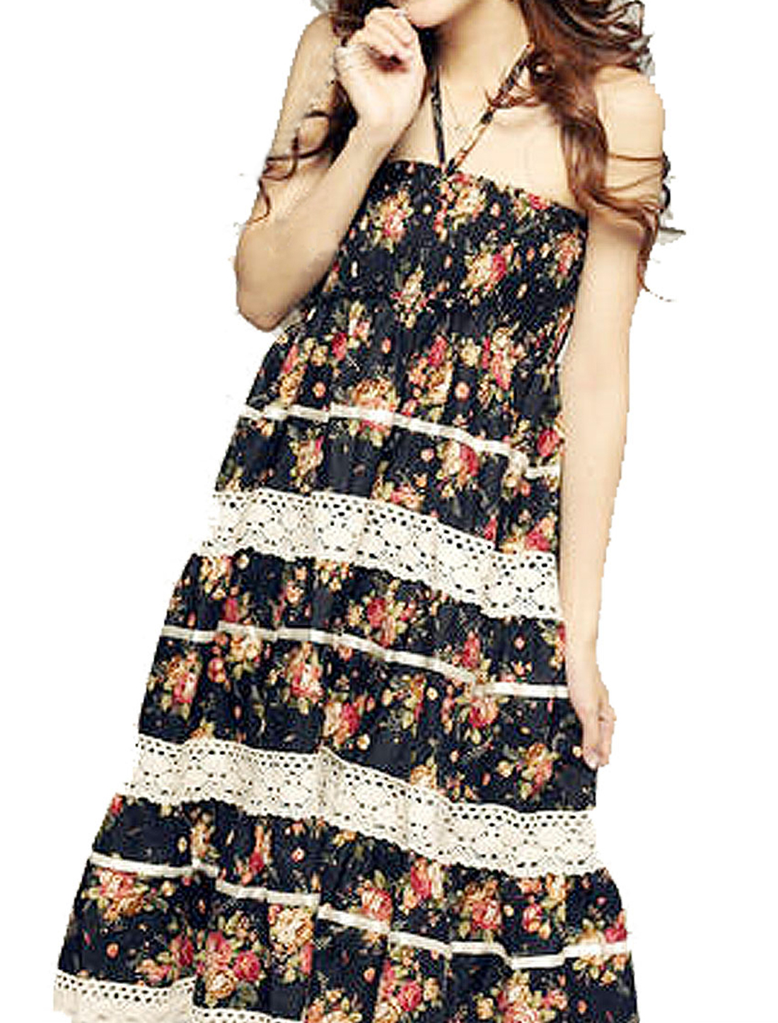 Women Floral Print Lace Trim Knee Length Halter Neck Dress Black XS