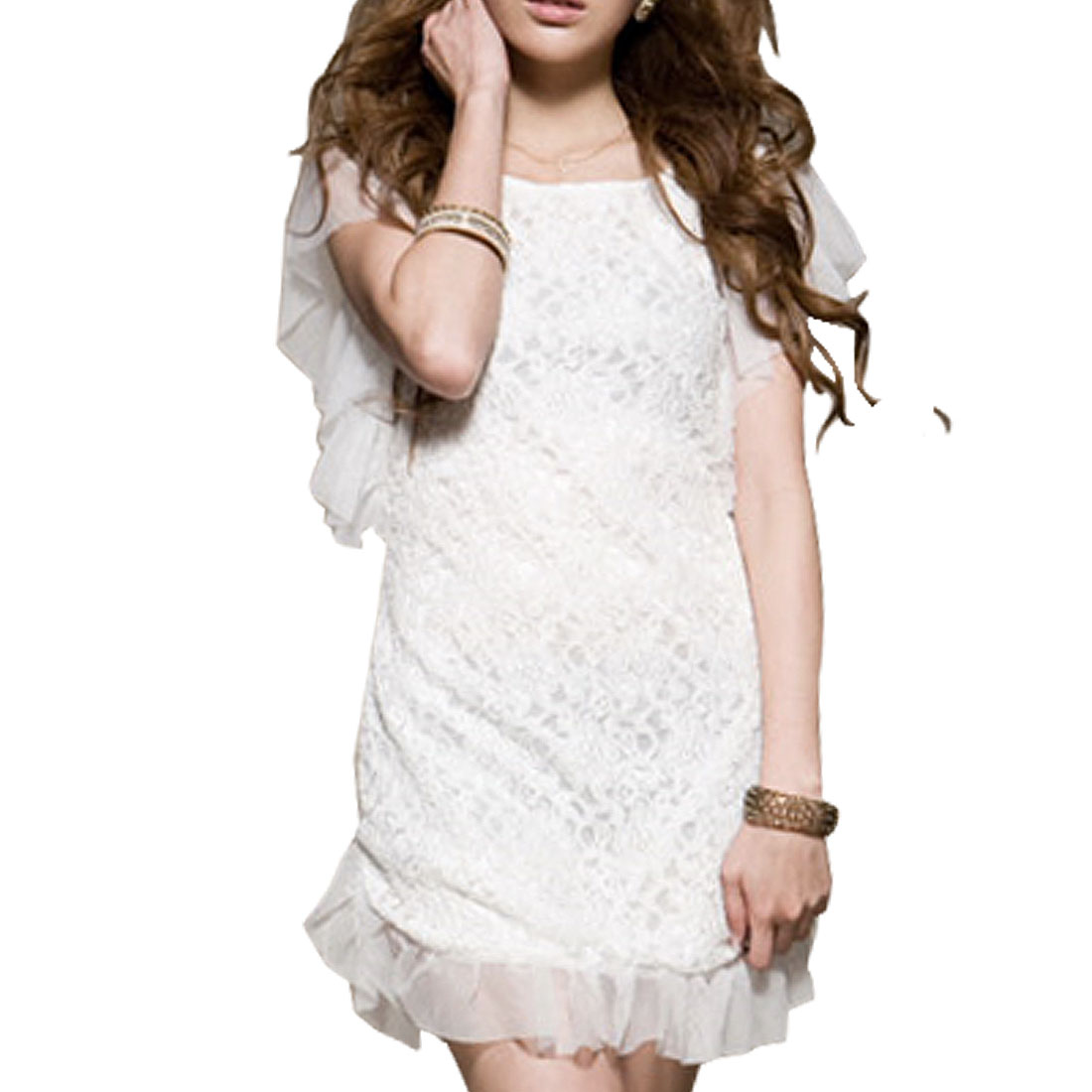 Size XS White Lace Style Flutter Sleeve Dress for Lady