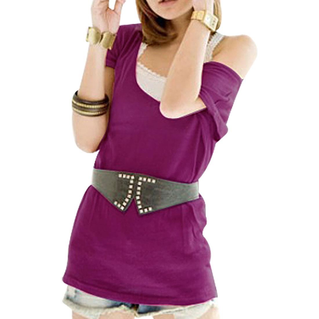 Ladies Dark Magenta Deep V Neck Batwing Sleeved Shirt Top XS