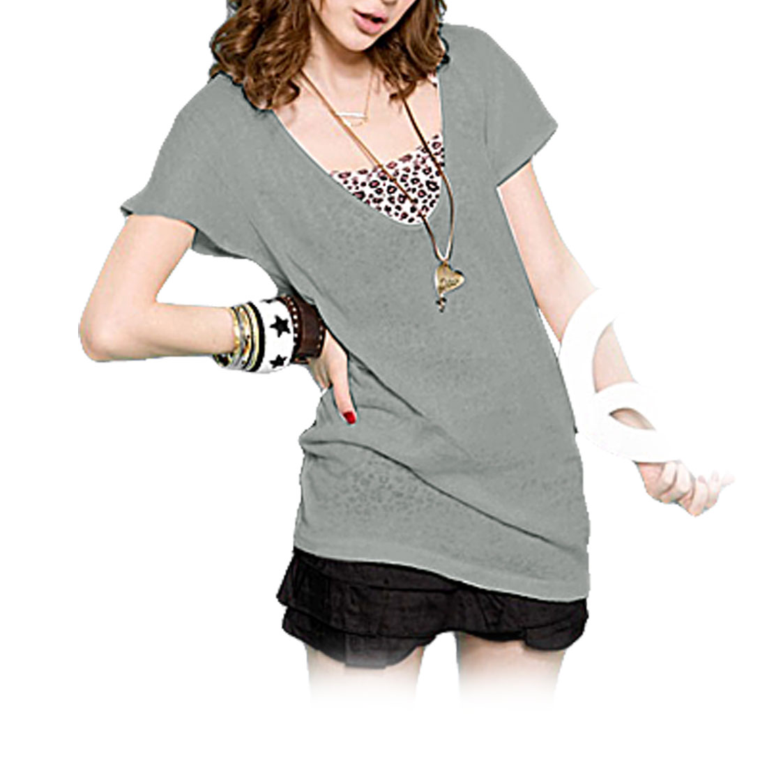 Gray Batwing Sleeved T-Shirt Top XS Size for Ladies