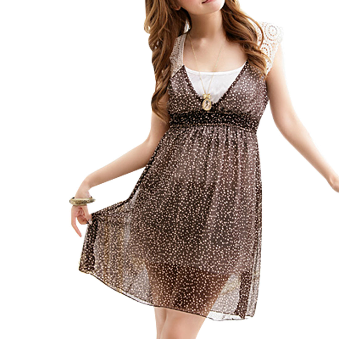 XS Brown Crossover V Neck Sleeveless Dress for Ladies