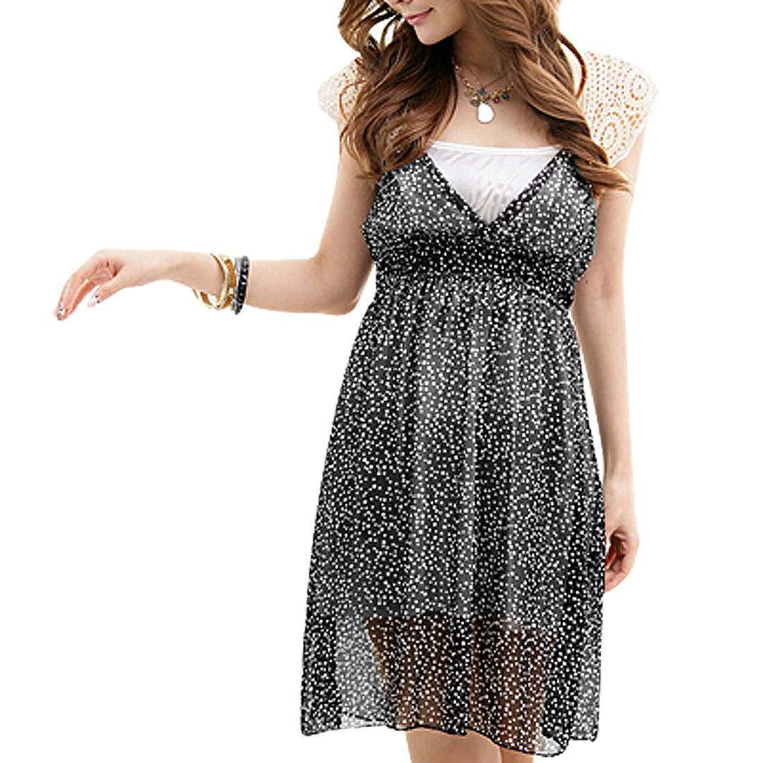 Off White Back Lace Cut Out Black XS Dress for Ladies
