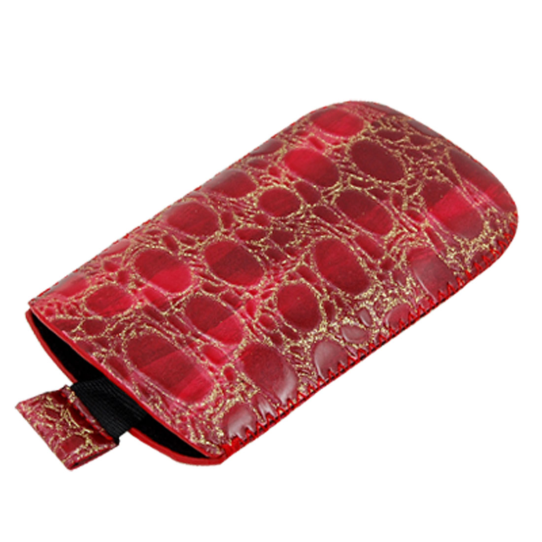Glittery Faux Leather Snakeskin Style Dark Red Pulling Case for Nokia 5800