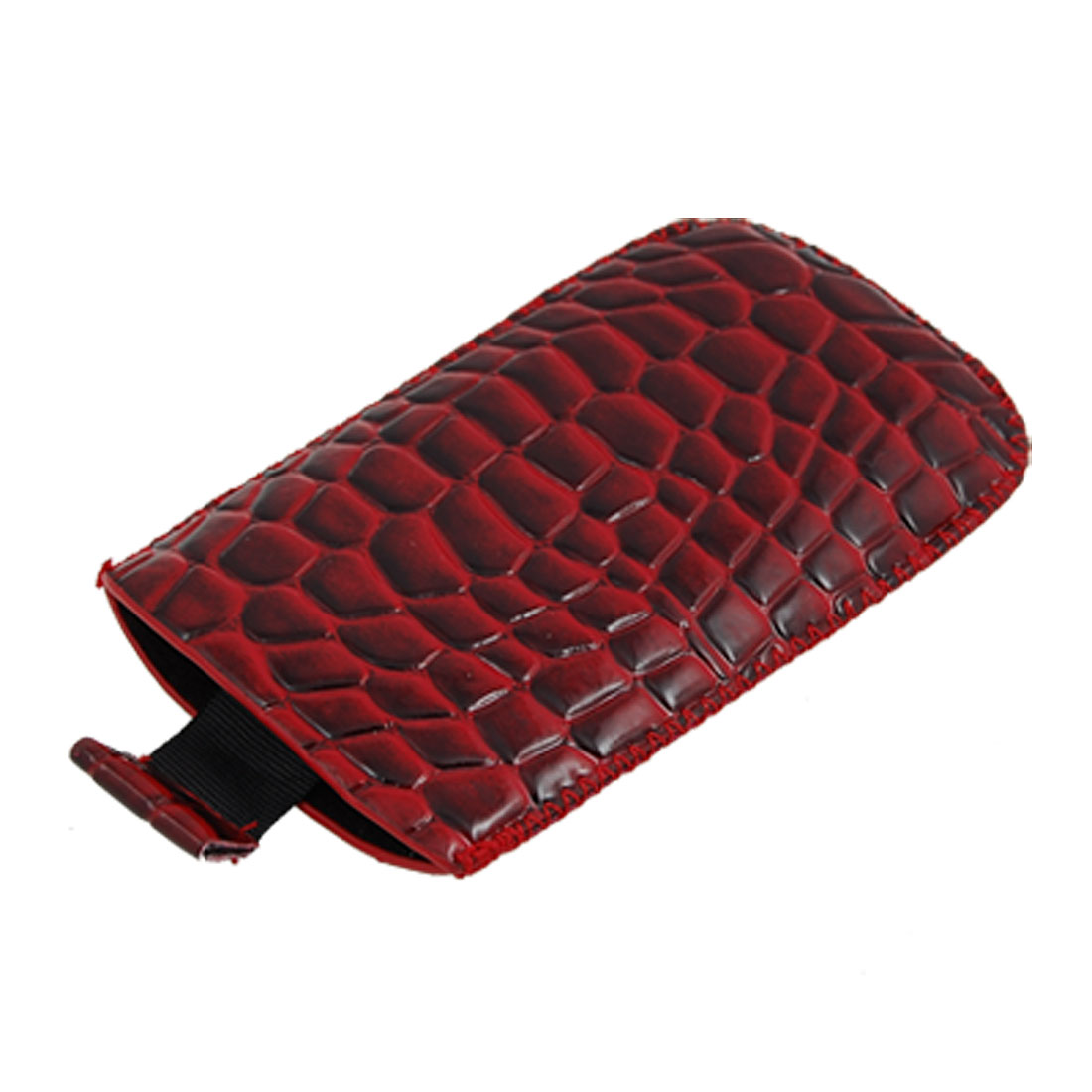 Black Red Snakeskin Style Faux Leather Pull Up Cover for Nokia 5800