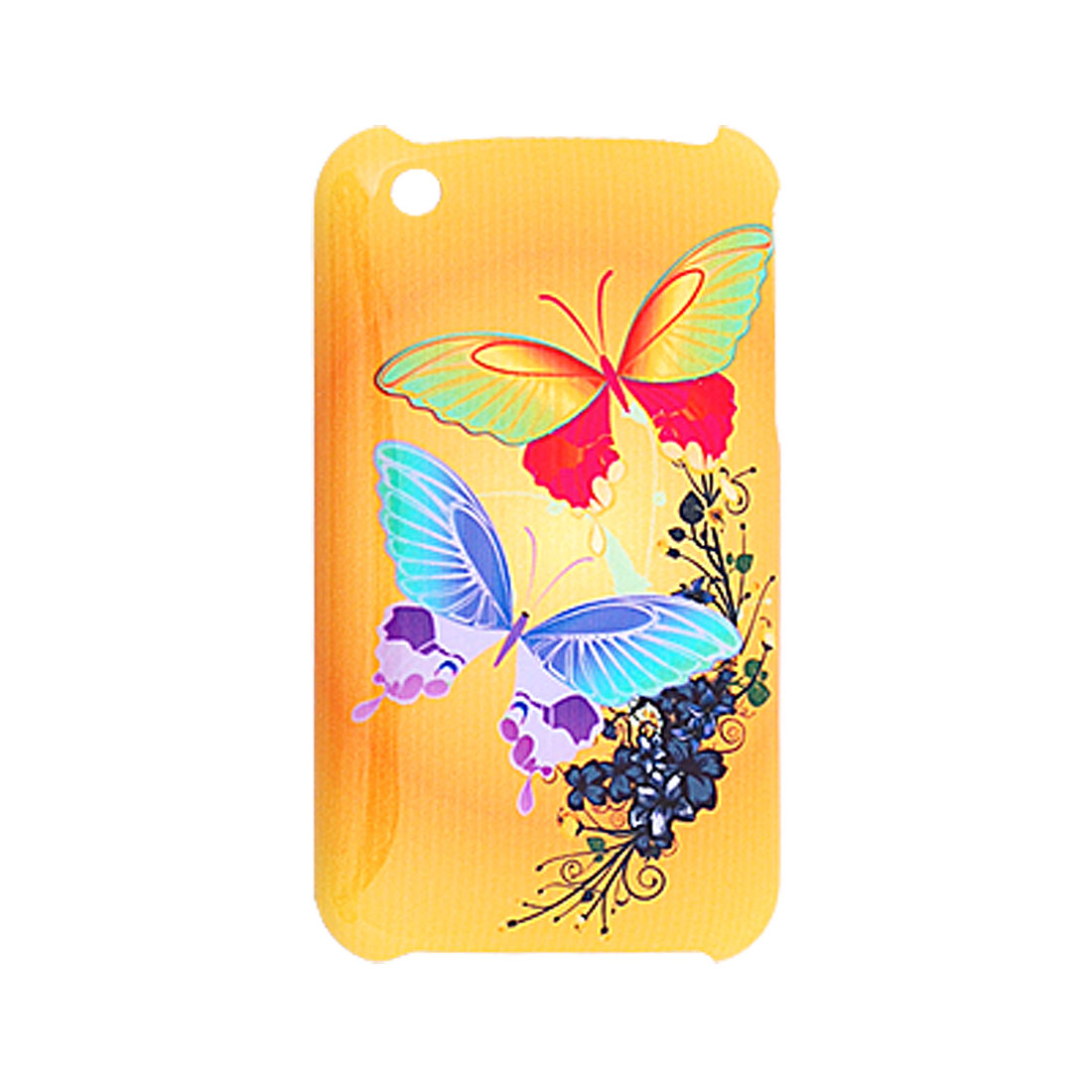 Butterfly Pattern Yellow Plastic IMD Hard Case for iPhone 3G