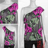 XS Flower Print Single Shoulder Shirt Top for Ladies