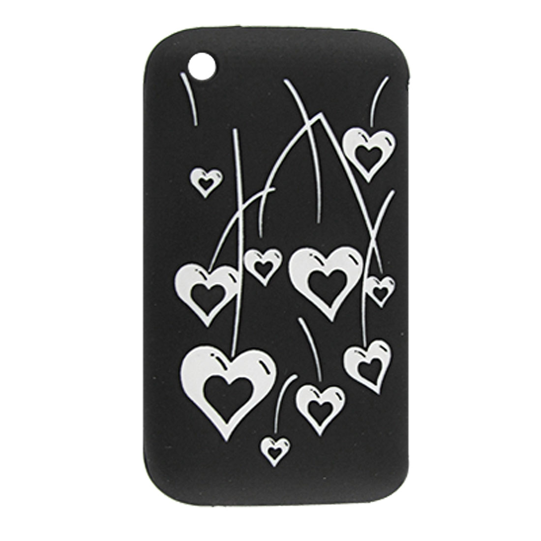 Heart Pattern Black Silicone Skin Cover Case for iPhone 3G