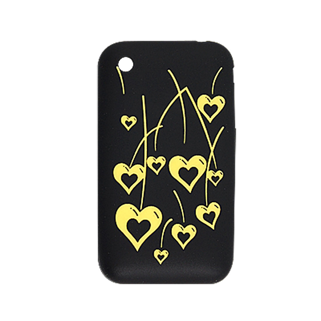 Black Silicone Yellow Cut Hearts Pattern Case for iPhone 3G