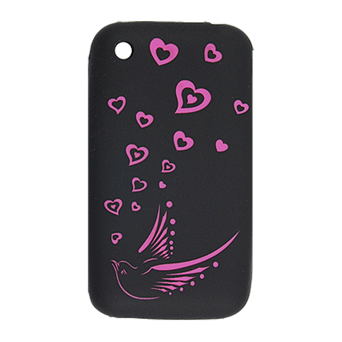 Fuchsia Cut Bird and Hearts Pattern Black Silicone Case for iPhone 3G