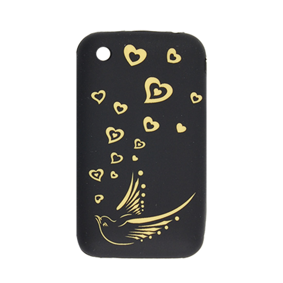 Cut Yellow Bird and Hearts Pattern Black Silicone Case for iPhone 3G