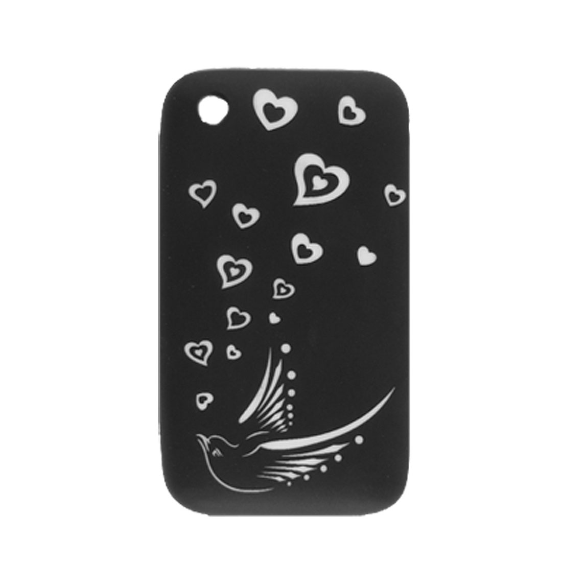 White Heart Pattern Silicone Skin Cover for iPhone 3G Black
