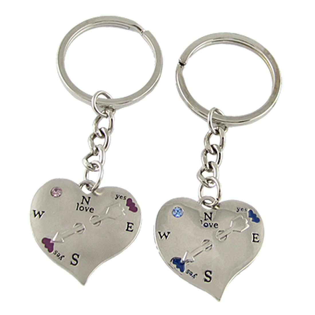 Pair of Alloy Plated Rhinestone Decor Keychain Keyrings for Lovers