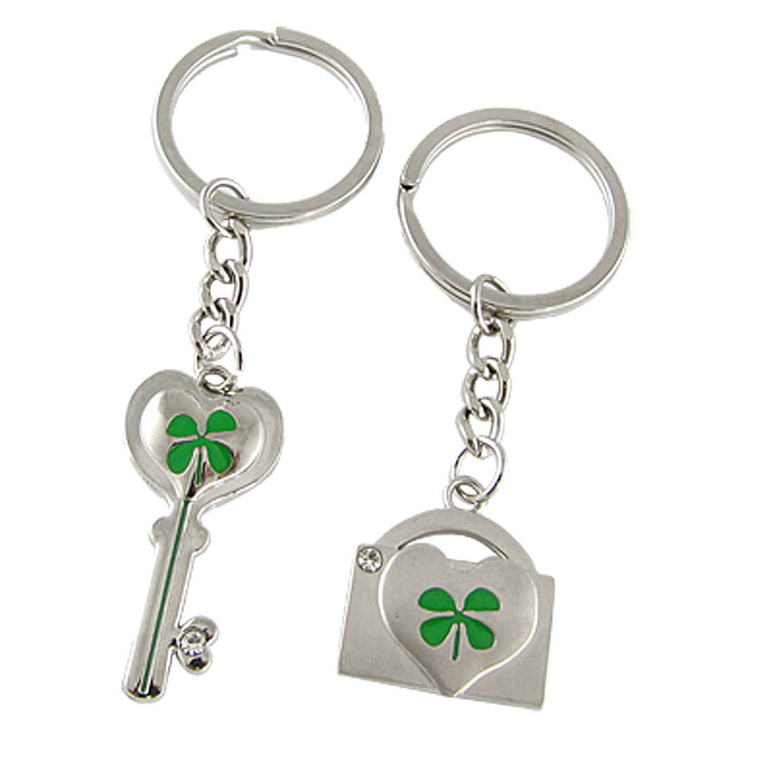 Pair of Clover Pattern Key and Key Lock Shaped Pendent Lovers Keychain