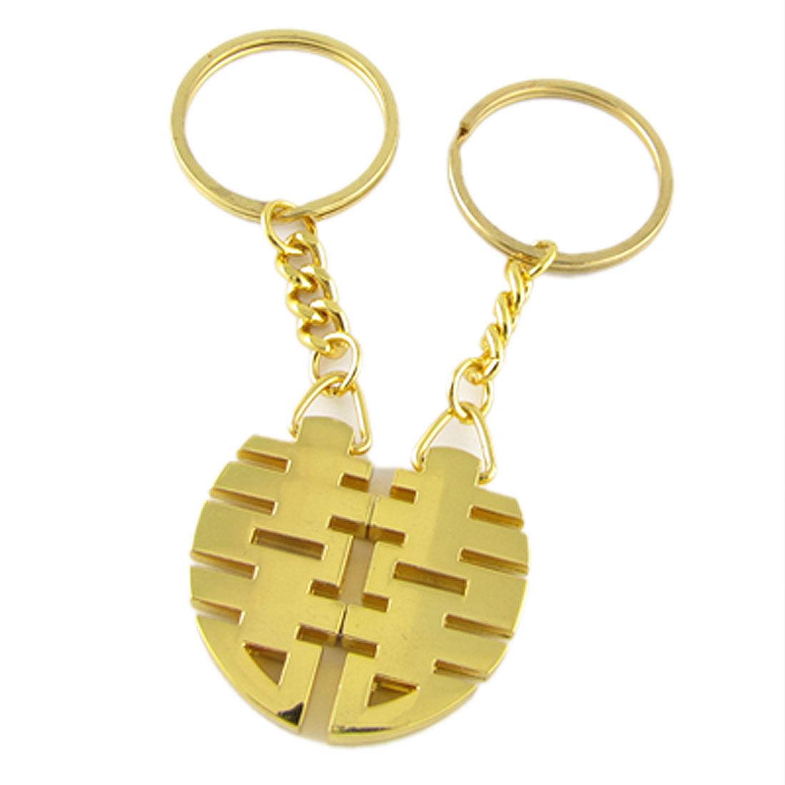 Gold Tone Oriental Double Happiness Magnetic Keychain for Lovers Couple