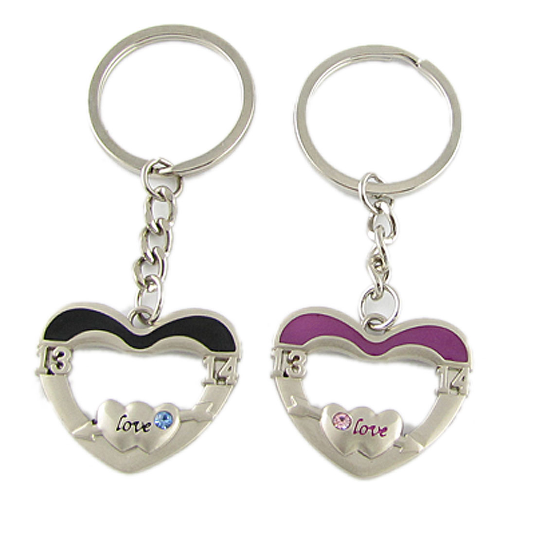 Pair of Silver Tone Heart Shape Lovers Sweetie Keychain Pendant