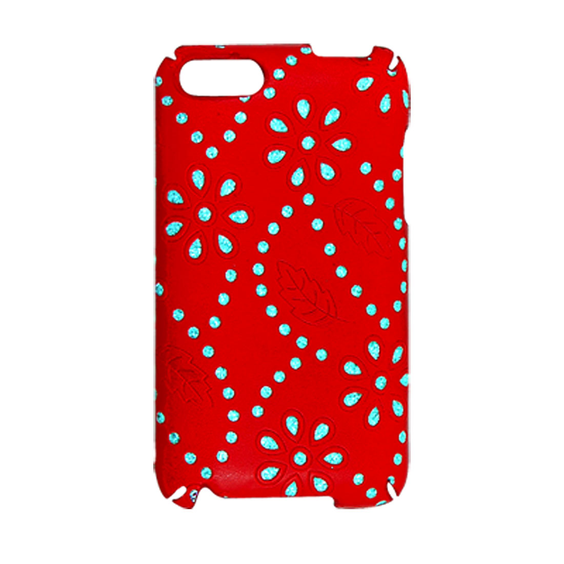 Glittery Floral Decor Red Coated Plastic Back Case for iPod Touch 2