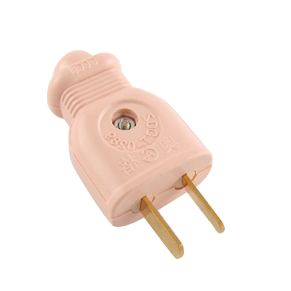 US Plug Pale Pink Plastic Shell Power Cable Plug Connector AC 250V 10A